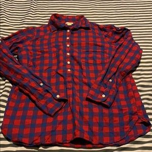 Blue and red jcrew factory flannel xs